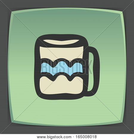 Vector outline tee or coffee cup icon on green flat square plate. Elements for mobile concepts and web apps. Modern infographic logo and pictogram.