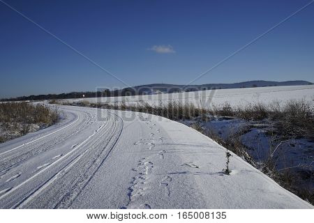 Snowy Track In Winter With Blue Sky