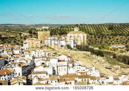 Spanish town Setenil de las Bodegas. Andalusia. View from above