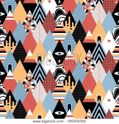 Seamless Geometric Pattern In Flat Style With Growing Triangles/mountains. Useful For Wrapping, Wall