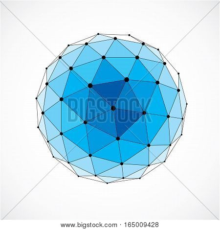 Vector dimensional wireframe low poly object blue spherical shape with black grid. Technology 3d mesh element made using triangular facets for use as design form in engineering.
