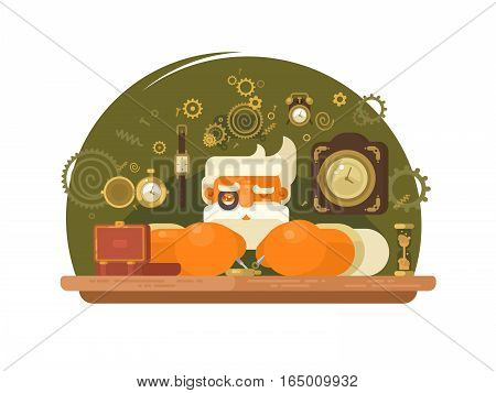 Watchmaker with gray hair repairing mechanical wrist clock. Vector illustration