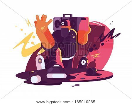 Fashionable hip hop man dude with tape on shoulder. Vector illustration