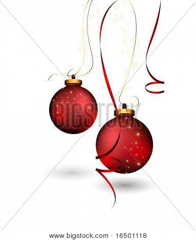Clean Christmas Card - Shiny 3D Christmas Balls