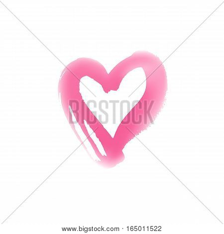 Blurr hand drawn heart symbol. Vector illustration. Icon for Valentines Day cards. Grunge shape design. Love emblem