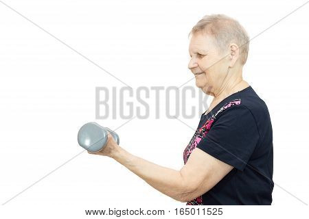 The photo shows a woman engaged in fitness