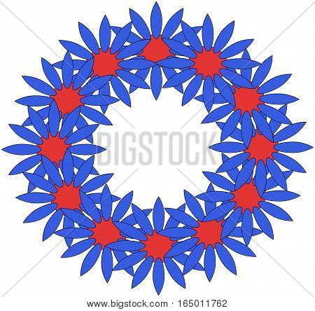 Abstract flower pattern wreath of blue and red over a white background