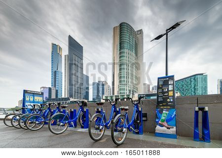 Melbourne Australia - December 27 2016: Bike share station in CBD area. People can hire bikes and explore the city