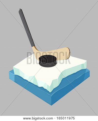 Vector illustration. Hockey equipment. Hockey stick and puck.