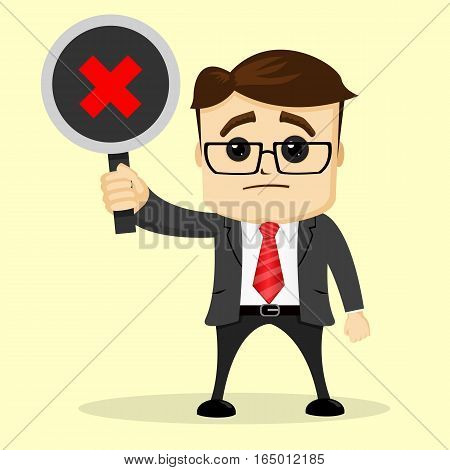 Vector businessman or manager holds a plate . A man in a business suit. The man in cartoon style isolated.