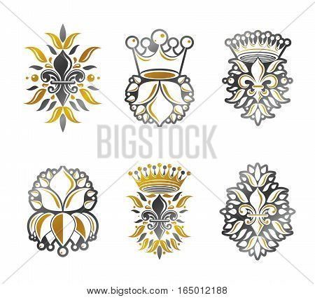 Lily Flowers Royal symbols floral and crowns emblems set. Heraldic Coat of Arms decorative isolated vector illustrations collection.