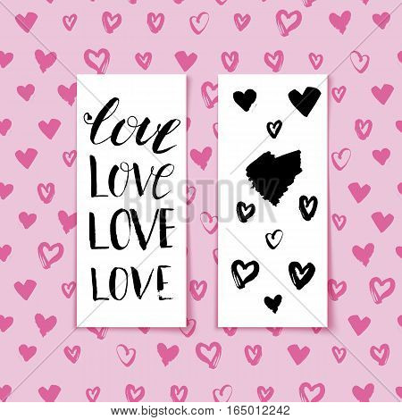 Hand drawn heart banner with letttering Love. Hearts background for Valentines Day. May used for banner, backdrop, flyer, card. Vector illustration
