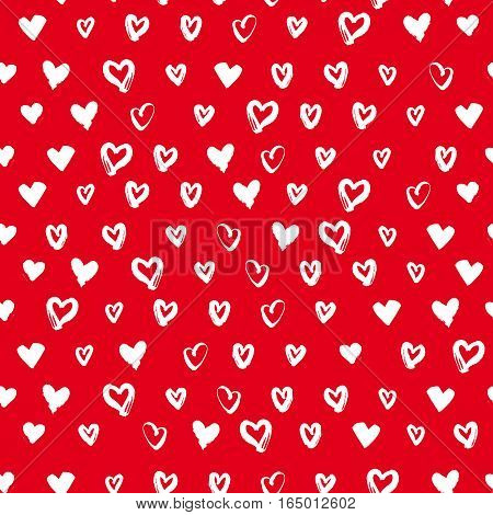 Seamless hand drawn heart on red background for Valentines Day. Can used for fabric, wallpapers, wrapping paper, cards and web backgrounds. Vector illustration