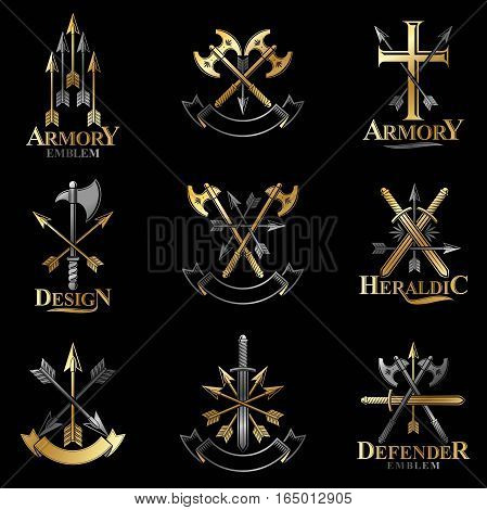Vintage Weapon Emblems Set. Heraldic Coat Of Arms Decorative Emblems Isolated Vector Illustrations C