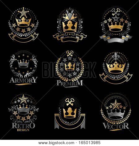 Majestic Crowns emblems set. Heraldic Coat of Arms decorative isolated vector illustrations collection.