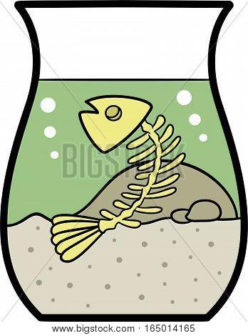 Fish Bone in Fishbowl Cartoon Illustration Isolated on White
