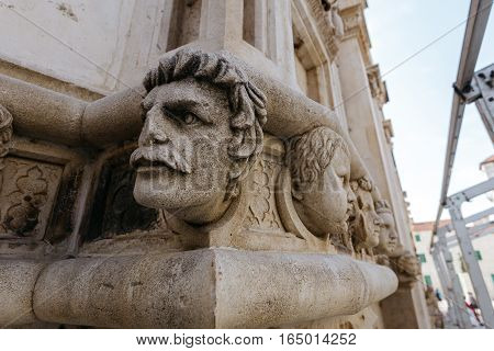 One of the sculptures of the head of the Cathedral of St. James in Sibenik, Croatia.