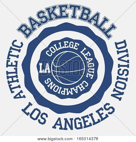 Basket ball typography, t-shirt los angeles - vector