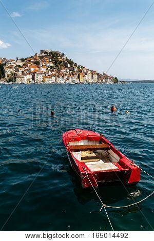 day view of the historical part with old houses and St. Michael's fortress in Sibenik, Croatia