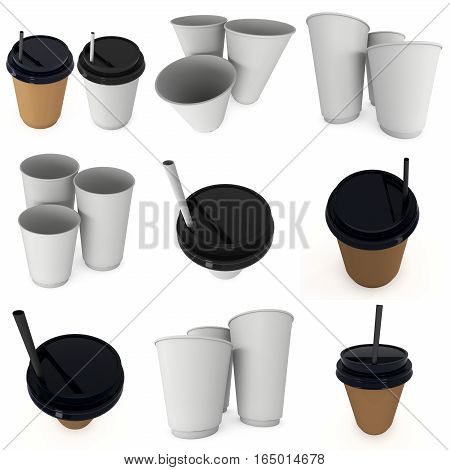 Disposable coffee cup with paper straw set. Brown paper mug with plastic cap. 3d render isolated on white background