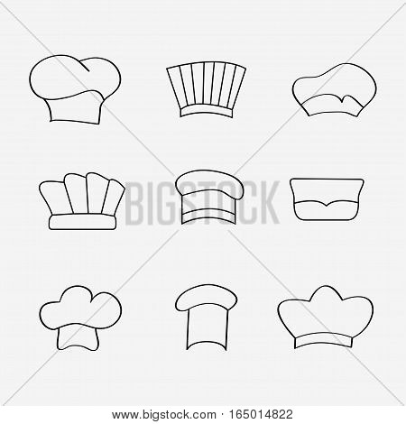 Chef or baker hats and toques set in cartoon style - vector