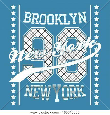 New york Brooklyn typography, t-shirt graphics. Vector illustration