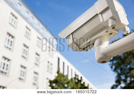 Close-up Of Security Camera Outside The Building For Security