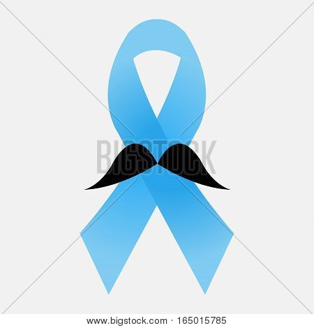 Prostate cancer blue ribbon with mustache - vector