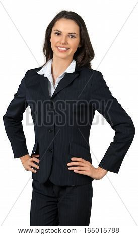 Friendly Young Businesswoman Standing with Hands on Hips - Isolated