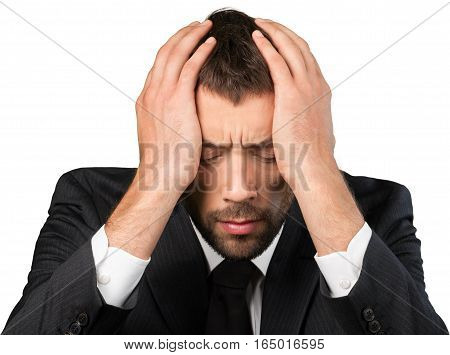 Portrait of a Businessman Worried / Having Headache