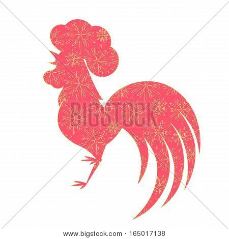 Chinese Lunar New Year 2017. Silhouette of of the cock with a floral ornament. Spring Festival. Red Rooster.