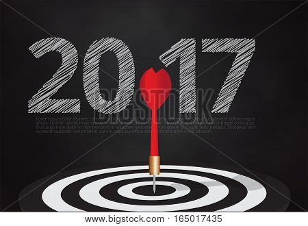 bull's eye hit the target on dartboard with number 2017 blackboard backgroundillustration EPS10.