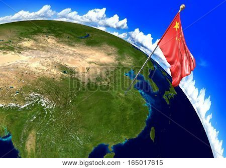 China national flag marking the country location on world map. 3D rendering, parts of this image furnished by NASA