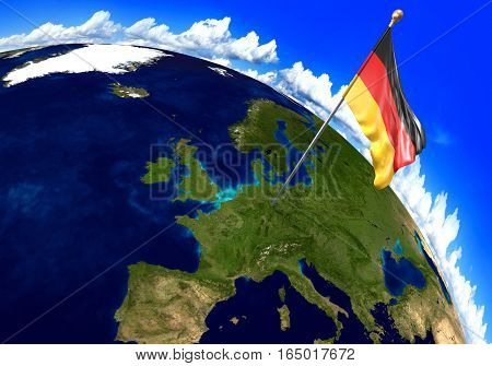 Germany national flag marking the country location on world map. 3D rendering, parts of this image furnished by NASA