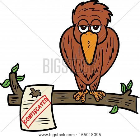 Homeless Bird on Confiscated Tree Cartoon Illustration