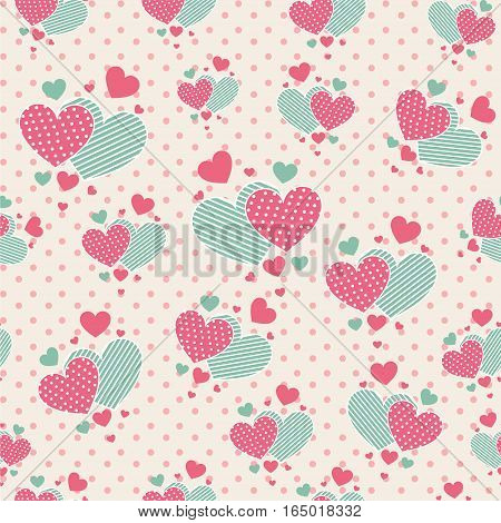 Seamless pattern with cute carrtoon hearts for scrapbook paper design