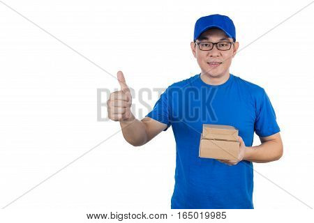 Asian Chinese delivery guy in uniform showing thumbs up in isolated white background.