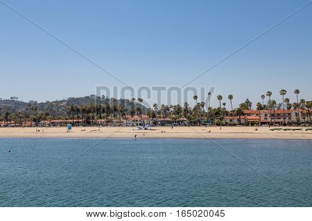 Palm Trees and Resort on Santa Barbara Beach