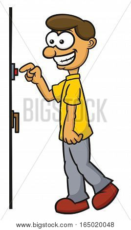 Man Pressing Doorbell Button Cartoon Illustration Isolated on White