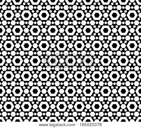 Vector monochrome seamless pattern, repeat geometric texture, black & white hexagonal grid, abstract modern texture. Stylish background with simple figures hexagons. Design for prints, decoration, textile, fabric, cloth