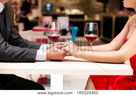 sweet couple on a romantic dinner date