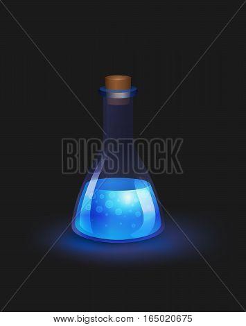 Blue glowing magic potion on dark background. Vector illustration