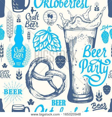 Seamless Oktoberfest background in sketch style. Vector Illustration with pub pattern. Multicolor decor. Different types of beer, cider and snack for your packing design.
