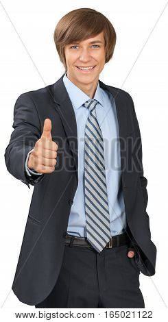 Young male in business suit giving thumbs up