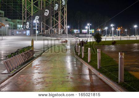 Batumi Bicycle Track At Night Illuminated Streetlights.
