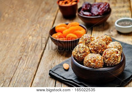 Raw vegan dried apricots dates almonds Chia seed balls.