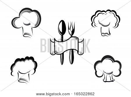 Vector icon illustration of a cook and caps.
