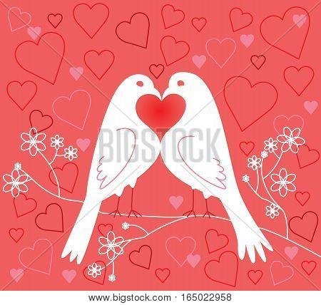 Lovebirds. Valentine's Day. Vector illustration. Pink background