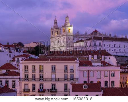 Church of Sao Vicente of Fora in Lisbon Portugal seen from Portas do Sol by night.