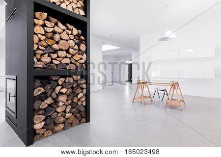 Spacious White Interior With Table